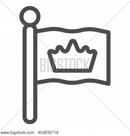 King Flag Line Icon, Fairytale Concept, Monarch Heraldic Emblem Sign On White Background, Flag With