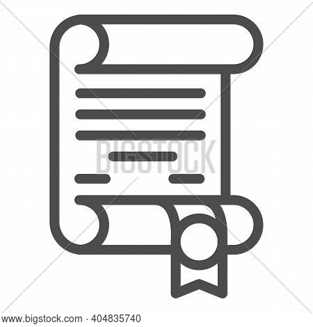 Antique Scroll With Ribbon Line Icon, Fairytale Concept, Royal Decree Sign On White Background, Anci