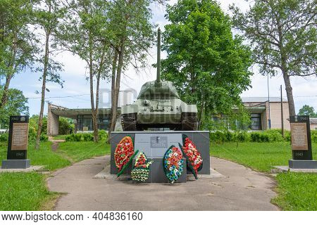Russia - June 22, 2020. Monument-tank T-34-85 In Memory Of Marshal Of The Armored Forces Pavel Rotmi