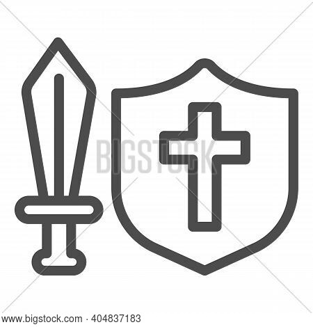 Medieval Sword And Shield Line Icon, Fairytale Concept, Medieval Weapon Sign On White Background, Cl