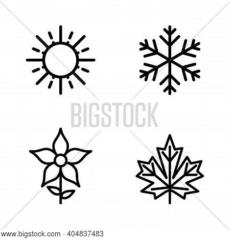 Four Seasons Icon Set. 4 Vector Graphic Element Illustrations Representing Winter, Spring, Summer, A