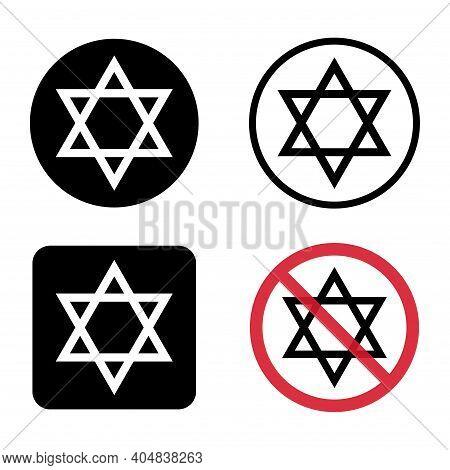 David Star Icon, Israel Symbol Of Religion Judaism. Hexagram Jerusalem Symbol. Biblical Flat Seal .