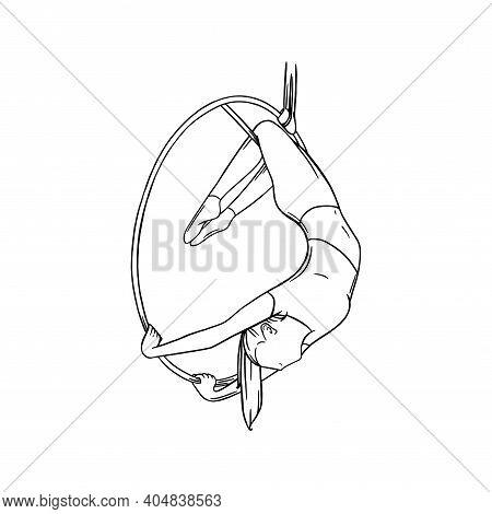 Aerial Female Gymnast In Hoop. Aerial Gymnastics Stunt. Sketch Vector Illustration Isolated On White