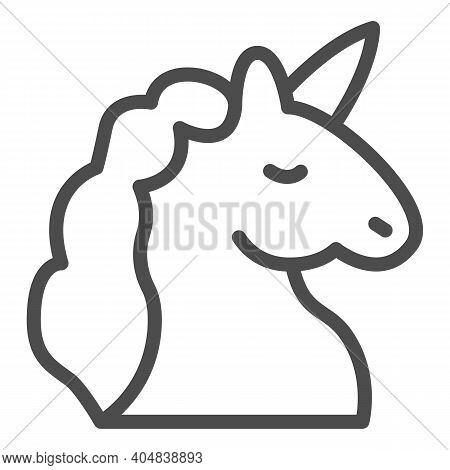 Unicorn Line Icon, Fairytale Concept, Unicorn Head Silhouette Sign On White Background, Mythical Hor