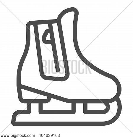 Skates Line Icon, Winter Season Concept, Skating Sign On White Background, Hockey Skates Symbol In O