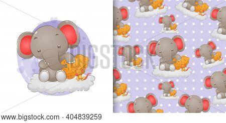 Hand Drawn The Little Elephant With The Little Mouse Sitting Near The Nut On The Cloud