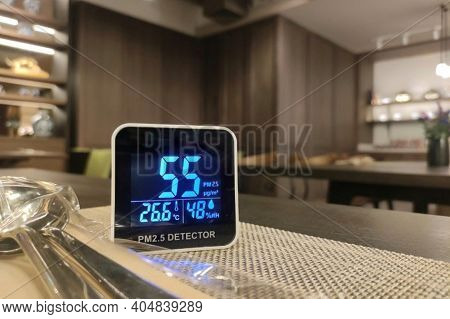 Bad Indoor Air Quality. Small Pm 2.5 Sensor Detect Harmful Amount Of Small Dust Particulate Matter I