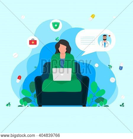 Medical Consultation By Internet With Doctor. Vector. Female Sitting And Talking With Medic On Scree