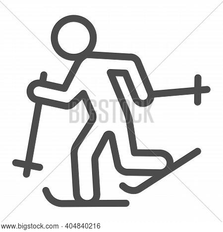 Running Skier Line Icon, Winter Season Concept, Cross-country Skiing Sign On White Background, Skier