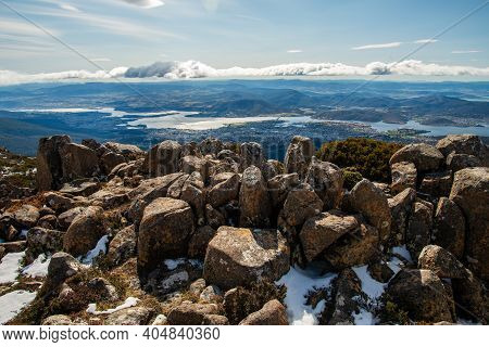 The Pinnacles Rock Formation On The Summit Of Mount Wellington With The View Of Hobart The Capital A