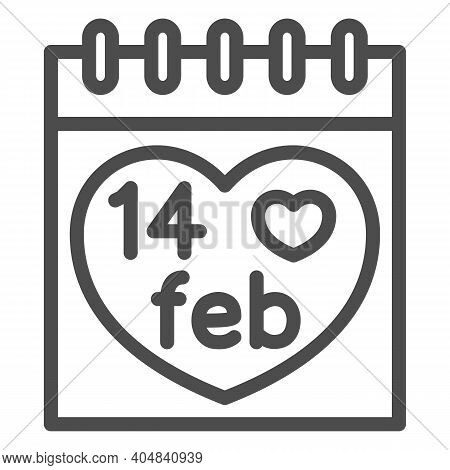 Fourteen February On Calendar Line Icon, Valentines Day Concept, Desk Calendar With Heart Sign On Wh
