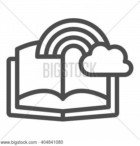 Book With Rainbow And Cloud Line Icon, Fairytale Concept, Book With Fairy Tale Sign On White Backgro