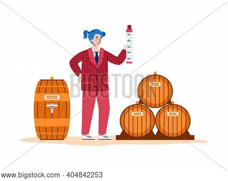 Winemaking Process - Aging Wine In Wooden Barrels. Woman Winemaker Checkup Quality Wine. Production