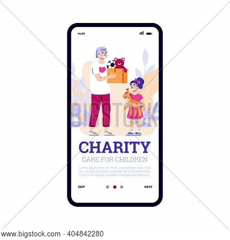Mobile App On Phone Screen For Charity And Donation To Children. Volunteer Hold Box With Toys For He