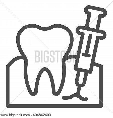 Tooth With Anesthesia Syringe Line Icon, Injections Concept, Teeth Anesthesia Sign On White Backgrou