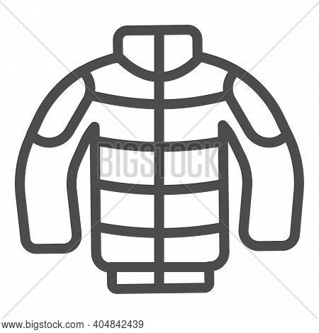 Winter Jacket Line Icon, Winter Season Concept, Winter Clothing Fashion Sign On White Background, In