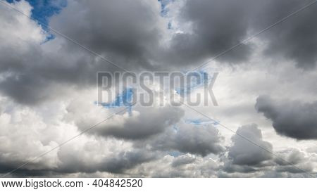 Dramatic dark cloudy sky, bad or rainy weather natural background