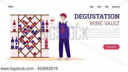Winemaking Process. Winemaker Sommelier Is Holding Wineglass And Degustation Red Grape Wine. Wine Ce