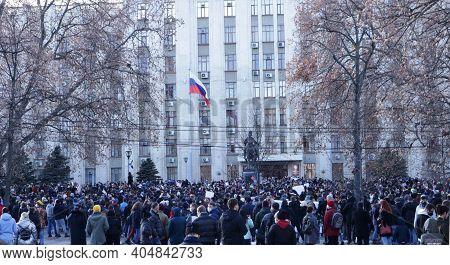 Krasnodar, Krasnodar Krai, Russia, 23 January 2021: Large Number Of Protesters In The City Square Ne