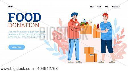 Food Donation Website With Volunteers Collecting Groceries, Cartoon Flat Vector Illustration. Volunt