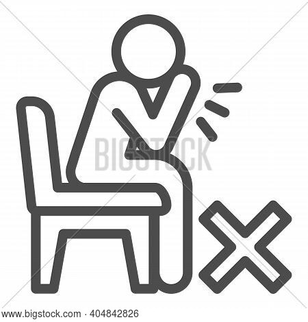 Sick Person Sitting And Coughing Line Icon, Corona Downturn Concept, Prohibition Of Coughing Without