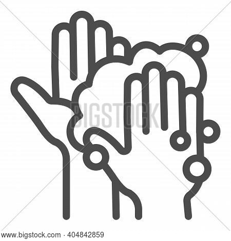 Hands In Soapy Foam Line Icon, Corona Downturn Concept, Hand Wash Sign On White Background, Hygiene
