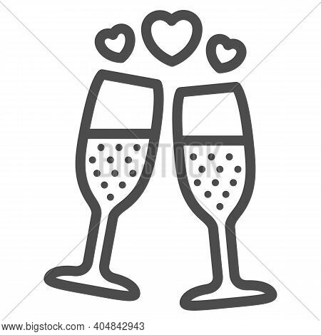 Champagne In Glass With Hearts Line Icon, Valentines Day Concept, Two Glasses Of Sparkling Champagne