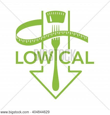 Low Cal Food Flat Icon - Stamp For Packaging Of Low Calories Diet Products - Weight Scales With Fork