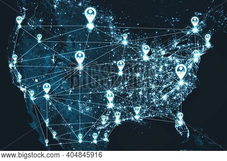 Usa People Network And National Connection In Innovative Perception. Business People With Modern Gra