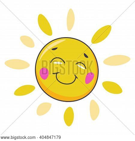 Smiling Sun Character With Face And Rays Vector