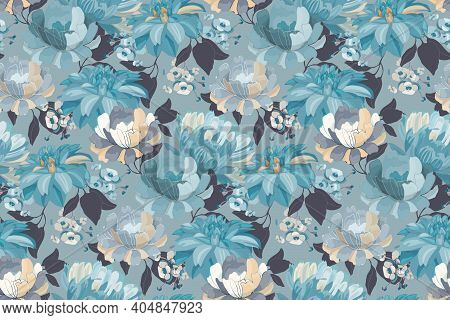 Art Floral Vector Seamless Pattern. Blue Asters, Dahlias, Chrysanthemums, Hydrangea.