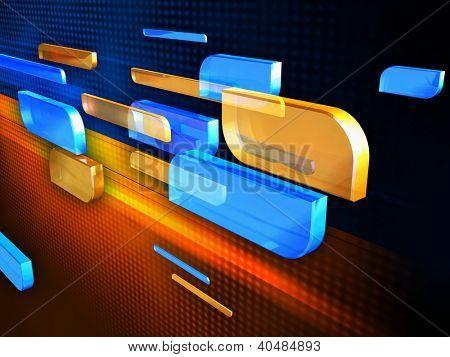 Some semi-transparent shapes moving over an high technology background. Digital illustration.