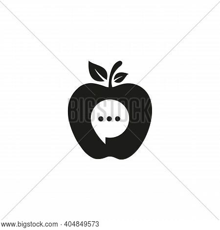 Apple Chat Icon. Media Chat Logo Design With Apple. Chat Logo And Icon Template And Apple Concept