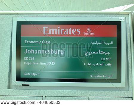 Dubai, Uae - 27 Apr 2012: The Plate With Info In Dubai Airport, Uae