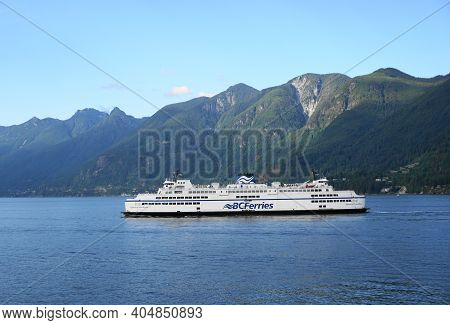 Bc Ferries Queen Of Cowichan Ship On The Beautiful Pacific Ocean And Mountains Background. West Vanc