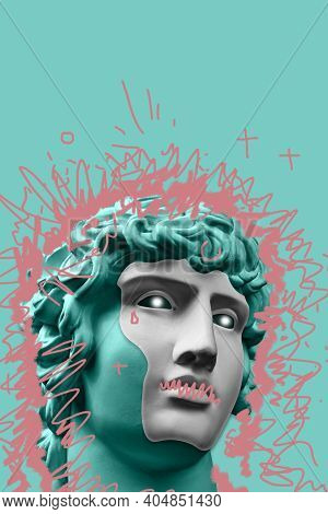 Collage With Plaster Antique Sculpture Of Human Face In A Pop Art Style. Modern Creative Concept Ima