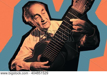 Cool Fashion Elderly Man Strum An Acoustic Guitar. Rock, Classic, Jazz Concert Collage Poster. Conte