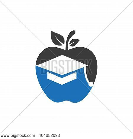 Education Hat Vector Logo Design. Creative Hat Logo Design. Education Hat With Apple Concept. Educat