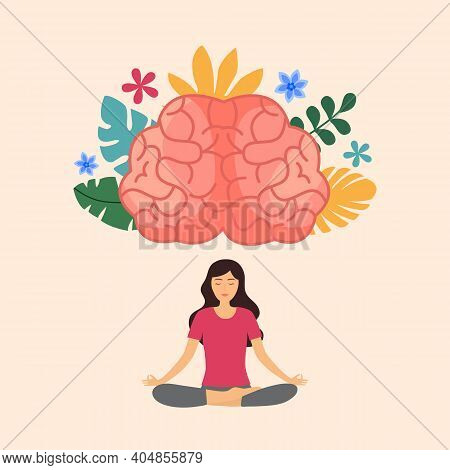 Woman Doing Meditation With Powerful Brain. Mind Power. Brain Meditate. Mindfulness. Mental Health.