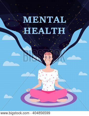 Mental Health. Woman Meditation In Yoga Pose. Open Brain, Relax Mental Calm Mind, Releasing Stress.