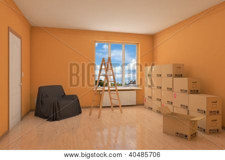 Empty apartment during relocation with moving boxes and ladder