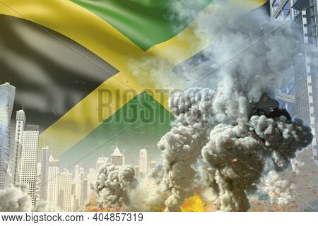 Large Smoke Pillar With Fire In Abstract City - Concept Of Industrial Catastrophe Or Terrorist Act O