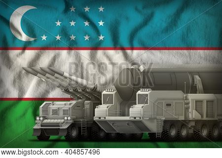 Rocket Forces On The Uzbekistan Flag Background. Uzbekistan Rocket Forces Concept. 3d Illustration