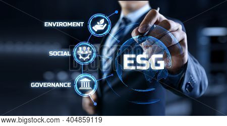 Esg Environmental Social Governance Business Strategy Investing Concept. Businessman Pressing Button