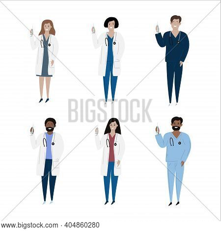 Vaccination Immunity Cartoon Set Of Hand Drawn Isolated Diverse Multiple Nationalities Adult Doctors