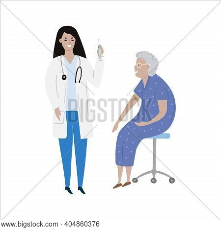 Vaccination Immunity Cartoon Of Hand Drawn Of Asian Female Doctor With Syringe And Old Senior Woman