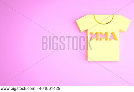 Yellow T-shirt With Fight Club Mma Icon Isolated On Pink Background. Mixed Martial Arts. Minimalism