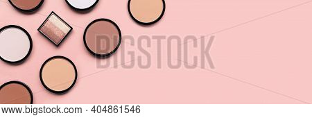 Beige Blush, Eyeshadow And Mineral Compact Face Powder On Pastel Pink Background. Banner. Place For