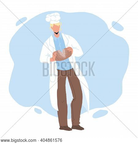 Baked Bread Breaking Bakehouse Worker Chef Vector