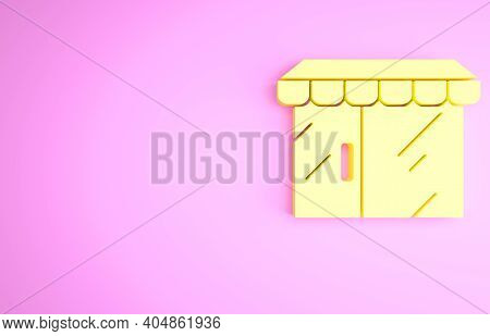 Yellow Shopping Building Or Market Store Icon Isolated On Pink Background. Shop Construction. Minima